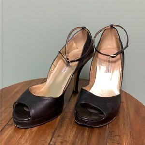 Black leather ankle strap heels